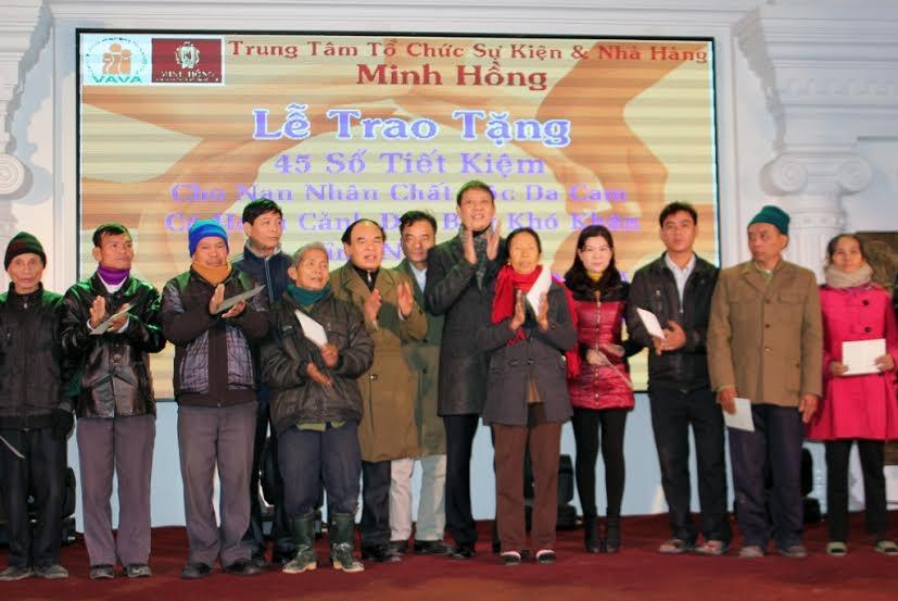 Ngày 27/1/2016, tất cả các hộ gia đình có người bị chất độc da cam đến từ các huyện vùng sâu, vùng xa ở Nghệ An như huyện Kỳ Sơn, Quế Phong, Tương Dương, Con Cuông, Đô Lương… nhận sổ tiết kiệm.