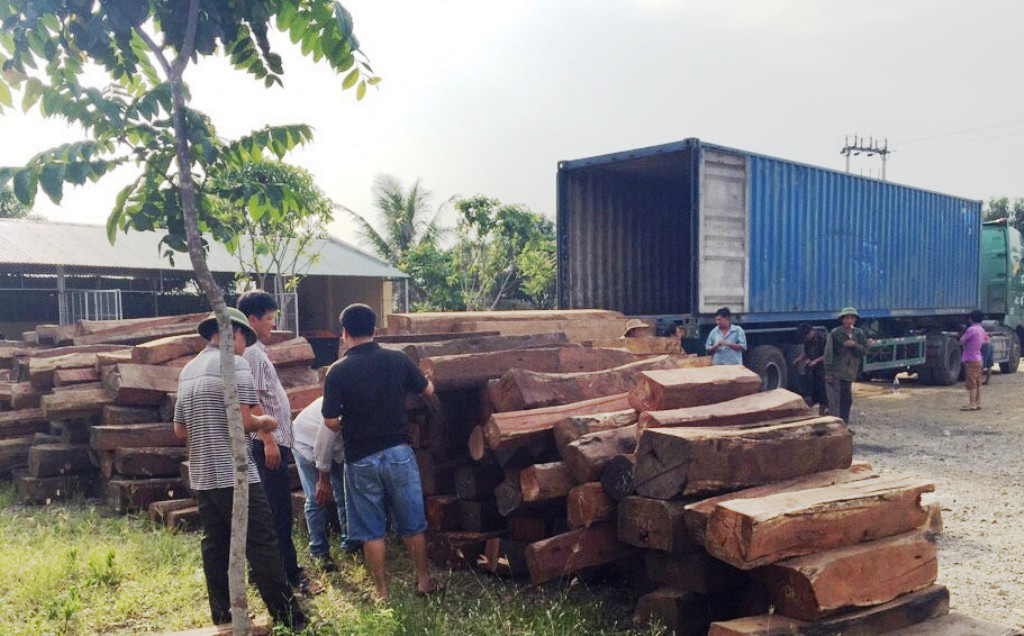 Khi tài xế khai và xuất trình hóa đơn chứng từ ghi là chở hạt tiêu, song qua kiểm tra thực tế, CSGT phát hiện bên trong chứa toàn gỗ quý.