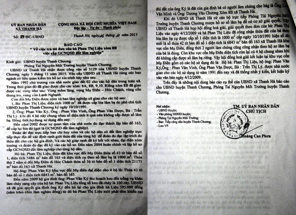 Báo cáo số 89 của UBND xã Thanh Hà ngày 16-11-2015 gửi UBND huyện Thanh Chương trả lời vấn đề của bà Liệu