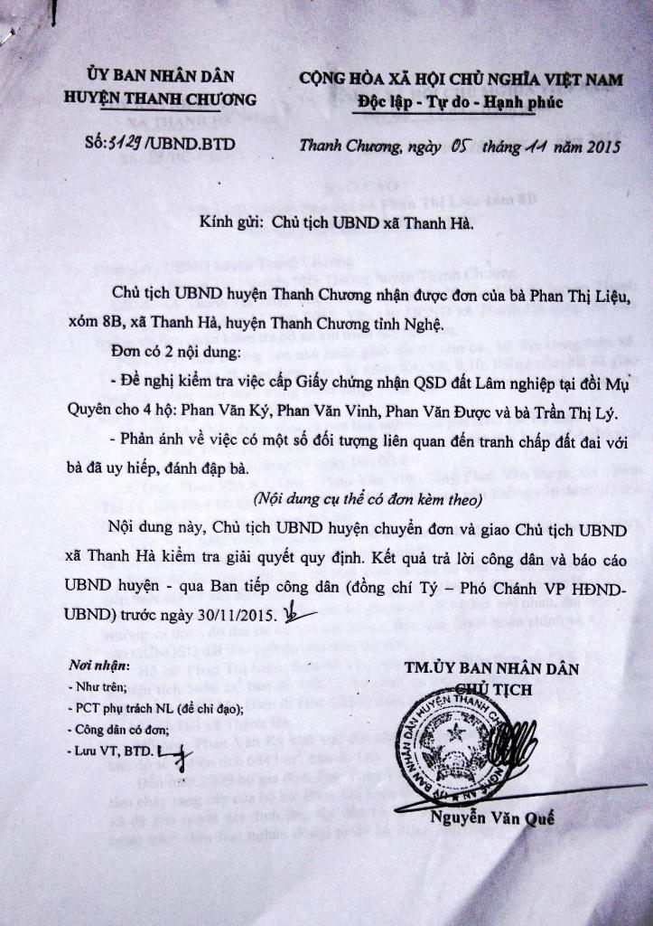 Công văn 3129 của UBND huyện Thanh Chương yêu cầu xã Thanh Hà giải quyết và trả lời vụ việc.