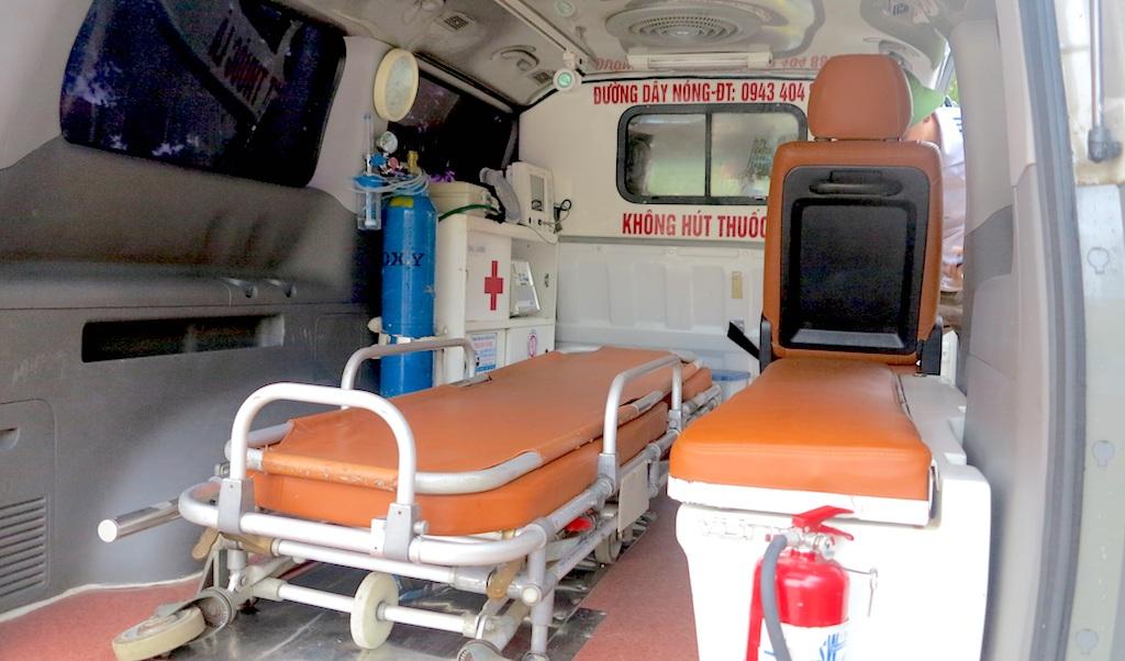 Chiếc xe cứu thương chở cháu Diễn hôm 2/7 vừa qua.