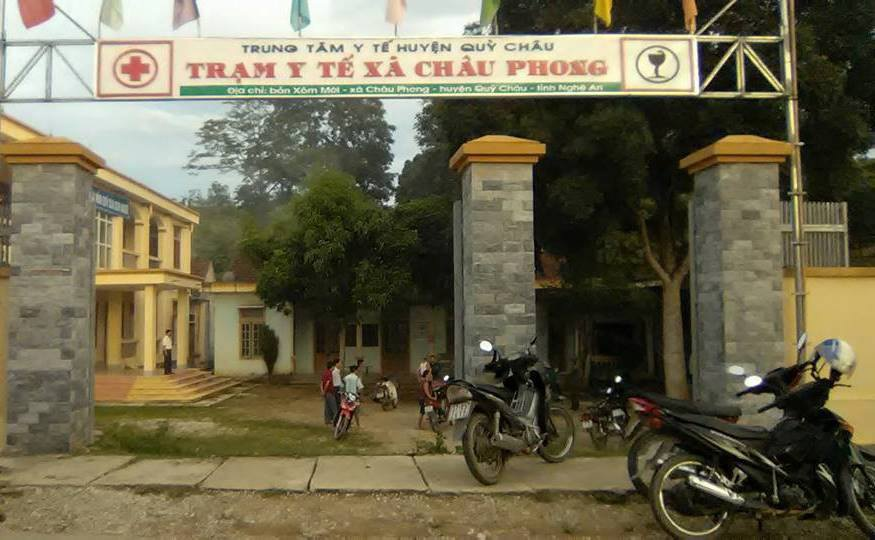 Trạm y tế xã Châu Phong nơi người dân đưa nạn nhân đến cấp cứu.