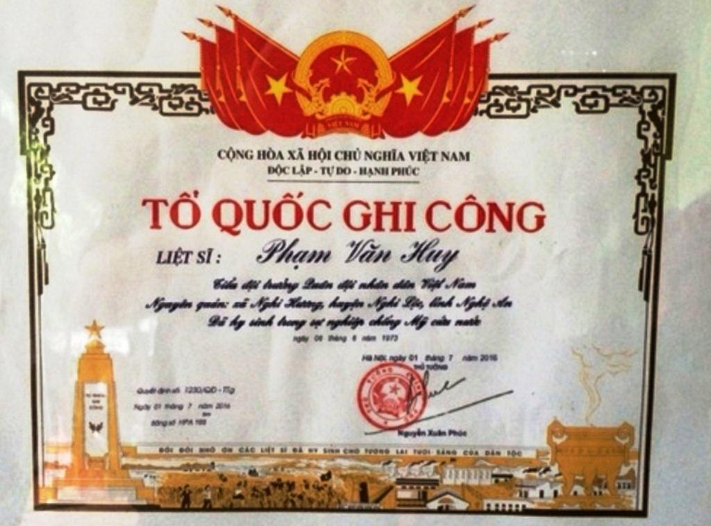 Sau 43 năm, liệt sĩ Phạm Văn Huy mới được công nhận.