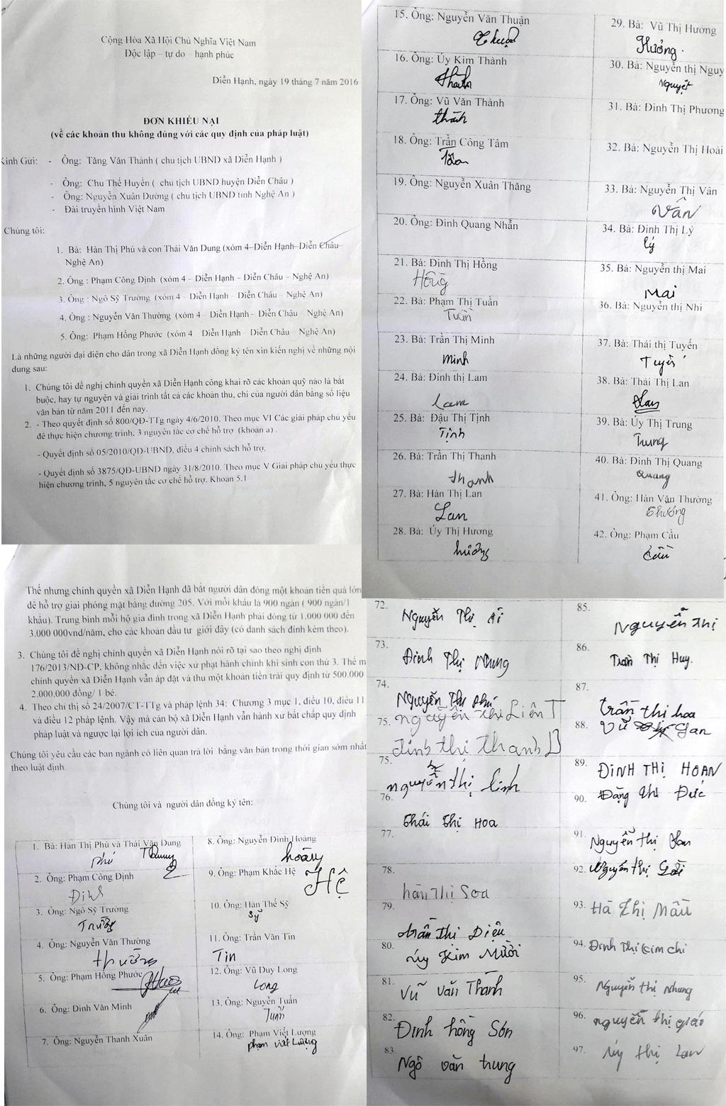 Đơn thư 97 hộ dân gửi PV Báo Dân trí.