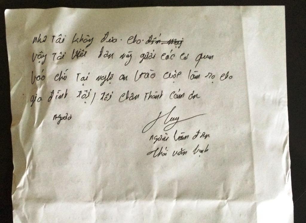 Đơn tố cáo của anh Thái Văn Hạnh gửi tới báo Dân trí. Trong đơn này anh Hạnh tố cáo ông Nguyễn Tiến Đồng đã nhận 7.000.000 triệu đồng khi làm sổ đỏ.