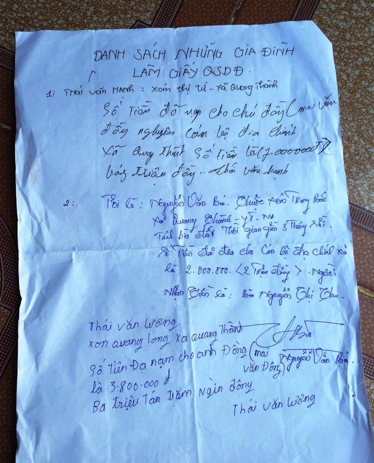 Danh sách những người phải nạp tiền cho cán bộ xã mới được làm sổ đỏ.