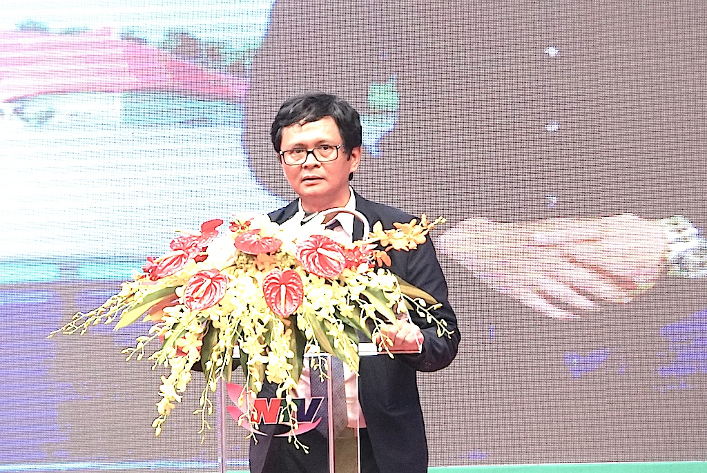 TGĐ Đài Truyền hình Việt Nam Trần Bình Minh phát biểu chúc mừng Đài PTTH Nghệ An nhân lễ kỷ niệm.
