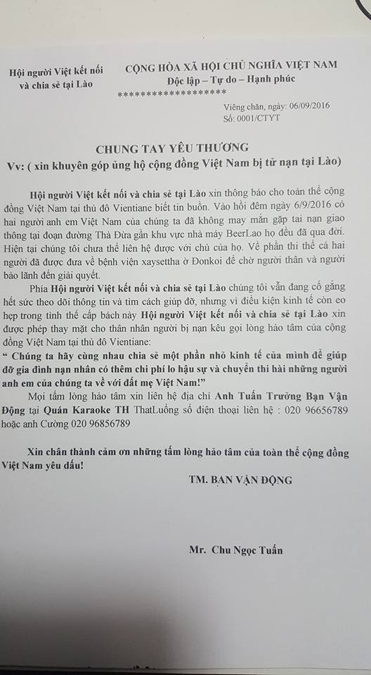 Thư kêu gọi của cộng đồng người Việt ở Lào ủng hộ 2 nạn nhân.