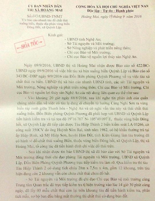 Công văn hoả tốc của UBND TX Hoàng Mai báo cáo vụ việc lên UBND tỉnh Nghệ An và các ngành liên quan.