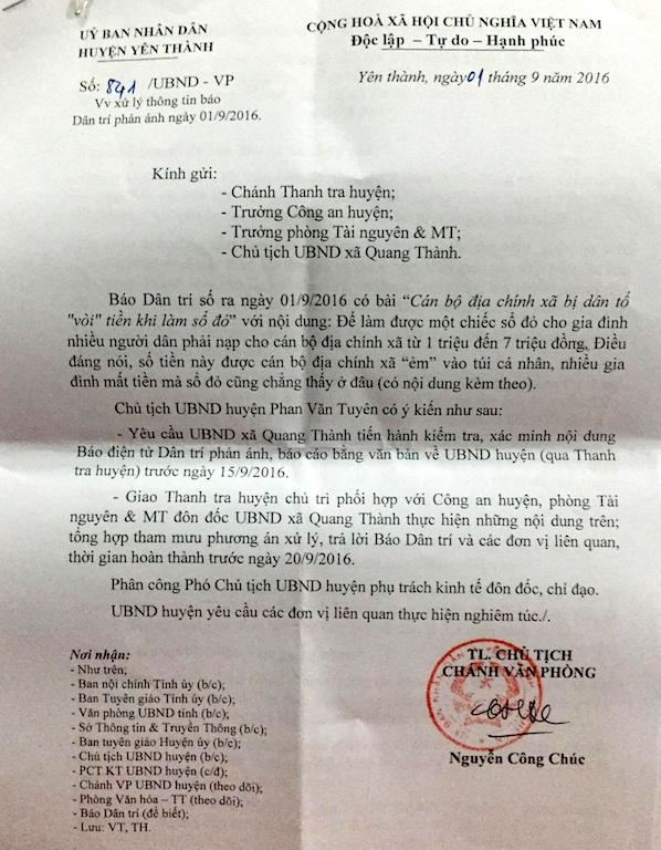 Văn bản của UBND huyện Yên Thành trả lời báo Dân trí và chỉ đạo UBND xã Quang Thành báo cáo sự việc.