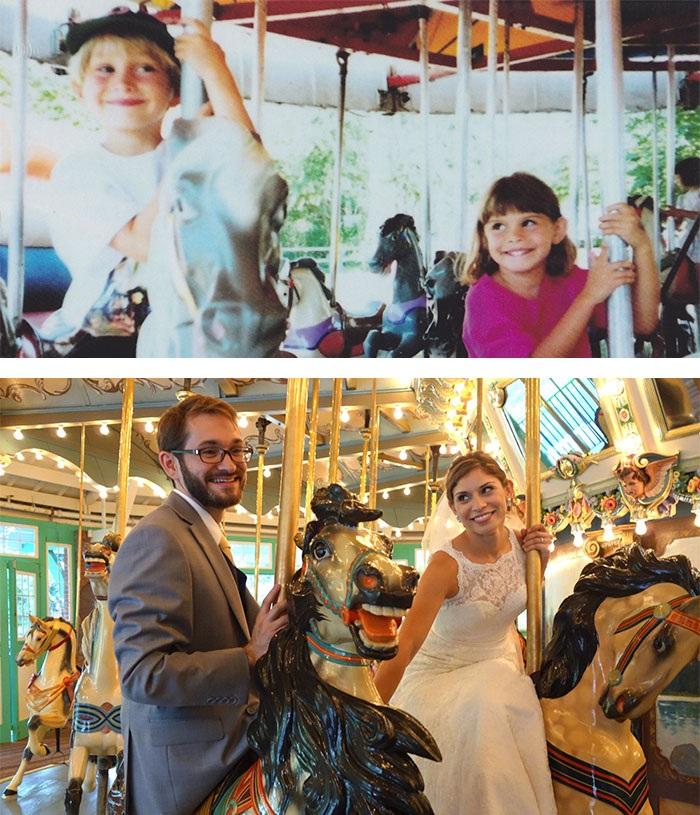 Cô dâu và chú rể ở hình dưới chính là hai đứa bé ở hình trên. Lần đầu gặp nhau, cô gái mới chỉ 3 tuổi.