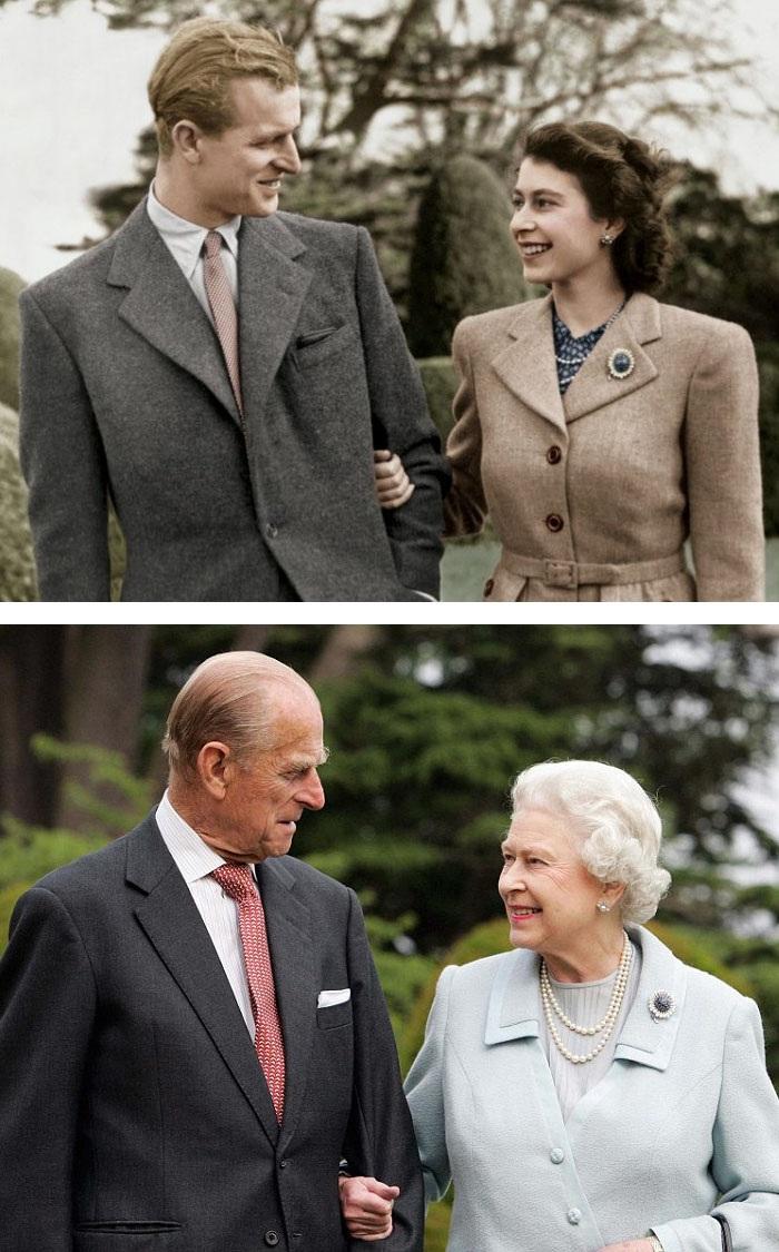 Nữ hoàng Elizabeth và đức phu quân chia nhau nụ cười năm 1947 và 60 năm sau.