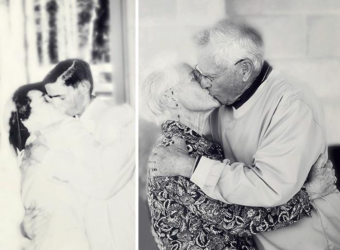 Đôi vợ chồng già hôn nhau thắm thiết nhân 60 năm ngày cưới.