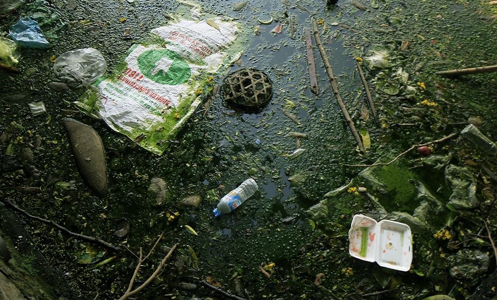 Rác cũng xuất hiện khắp mặt hồ. Đây là nơi các đội môi trường - đô thị thường xuyên vệ sinh nhưng do nhiều người dân ý thức kém. thường xuyên ném rác xuống hồ.