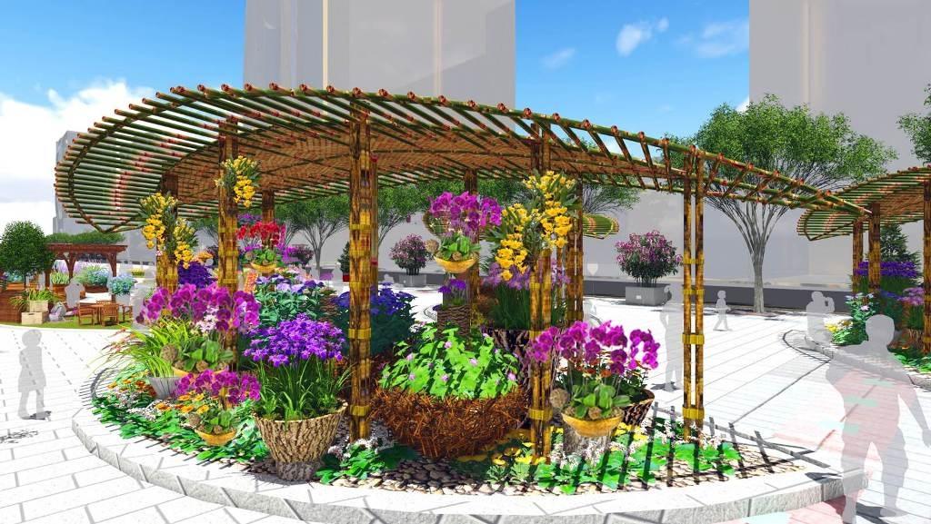 Hình ảnh hồ sen, ruộng lúa vốn dùng gạch, xi măng, bạt nhựa chống thấm… sẽ được thay bằng hình ảnh khu vườn với ghế gỗ, hàng rào gỗ, chậu hoa treo mang hơi thở cuộc sống thành thị ở tiểu cảnh Vườn Xuân.