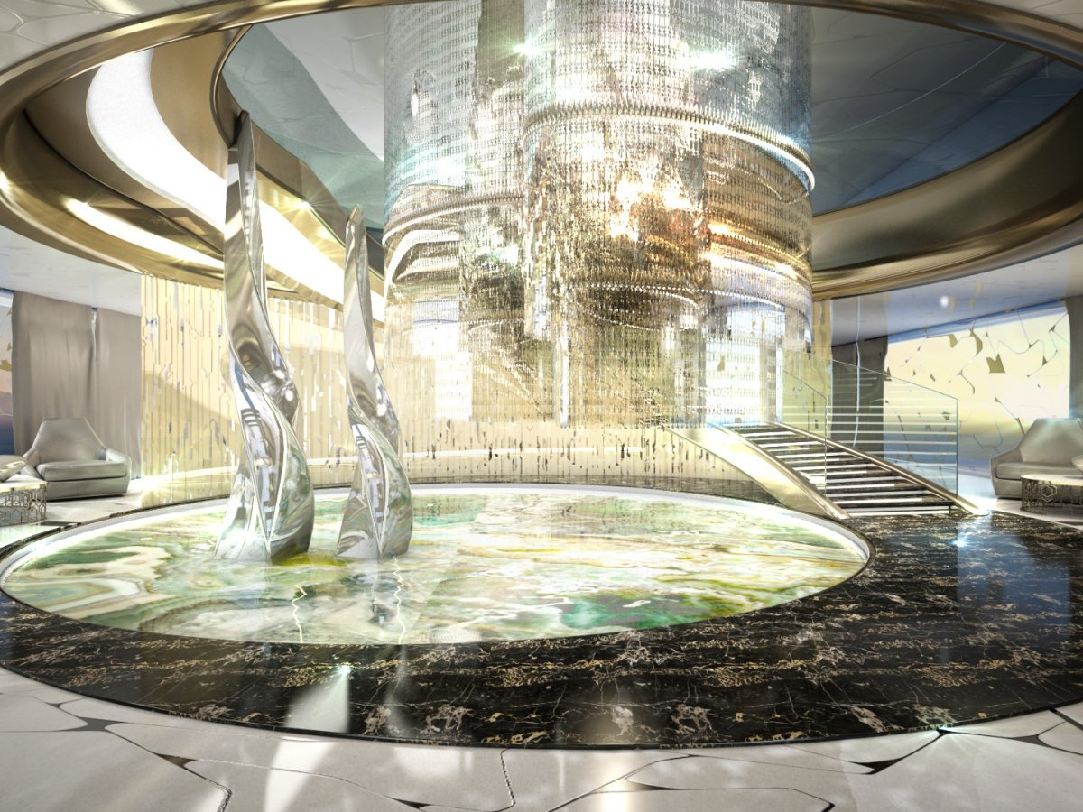 Không gian trở nên lấp lánh nhờ hiệu ứng của ánh sáng chiếu xuống hồ nước và những tác phẩm điêu khắc bằng kính