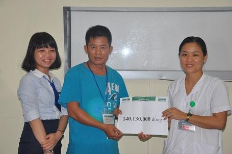 Đại diện phía khoa Thần Kinh 2 và cán bộ phòng CTXH bệnh viện Việt Đức thay mặt trao quà của bạn đọc Dân trí đến tận tay anh Hùng.