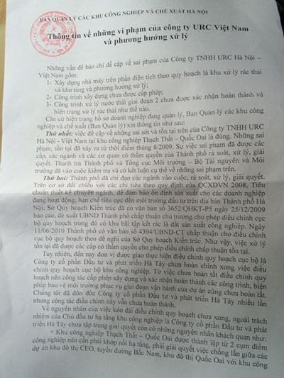 Văn bản của Ban Quản lý các khu công nghiệp và chế xuất Hà Nội thừa nhận phản ánh của báo chí là đúng (Ảnh: T.K.)