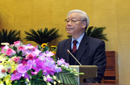 Tổng Bí thư Nguyễn Phú Trọng phát biểu khai mạc Hội nghị toàn quốc triển khai công tác bầu cử đại biểu Quốc hội Khóa XIV và đại biểu HĐND các cấp nhiệm kỳ 2016 - 2021 (Ảnh: Đại biểu Nhân dân).