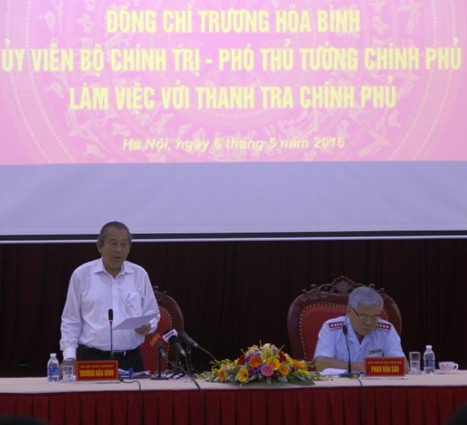 Phó Thủ tướng Trương Hòa Bình chỉ đạo tại hội nghị (Ảnh: Thanh tra Chính phủ)