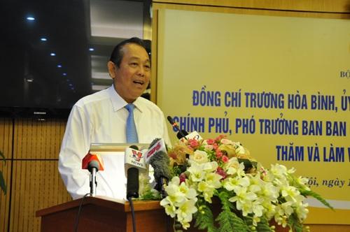Phó Thủ tướng Trương Hòa Bình phát biểu chỉ đạo tại cuộc họp (Ảnh: Đ.Minh)