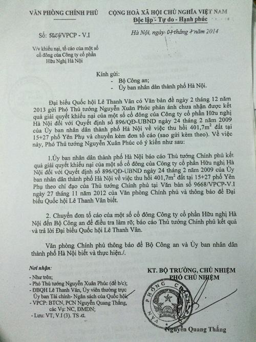 Văn bản chỉ đạo giải quyết sự việc lần thứ 2 của Phó Thủ tướng Nguyễn Xuân Phúc năm 2014, đến nay vẫn rơi vào im lặng (Ảnh: T.K)