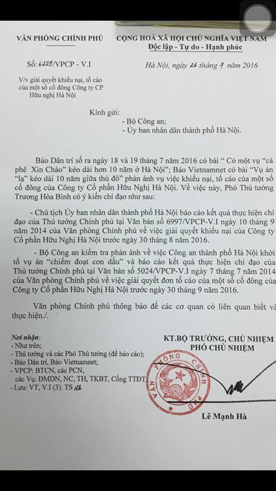 Phó Thủ tướng Chính phủ Trương Hòa Bình chỉ đạo UBND TP Hà Nội và Bộ Công an làm rõ sự việc tại Công ty cổ phần Hữu Nghị.
