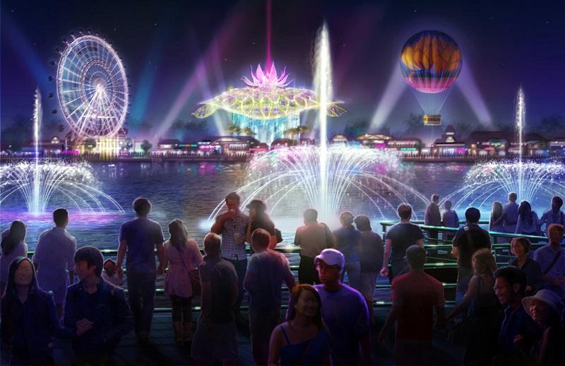Phối cảnh Dự án Công viên văn hóa du lịch vui chơi giải trí Kim Quy hiện đại của mô hình Universal Studios, Disneyland vừa được khởi công xây dựng tại xã Vĩnh Ngọc, huyện Đông Anh, Hà Nội. Dự án có quy mô hơn 100 ha, với tổng mức đầu tư giai đoạn 1 là 4.600 tỷ đồng (Ảnh: Quang Phong).