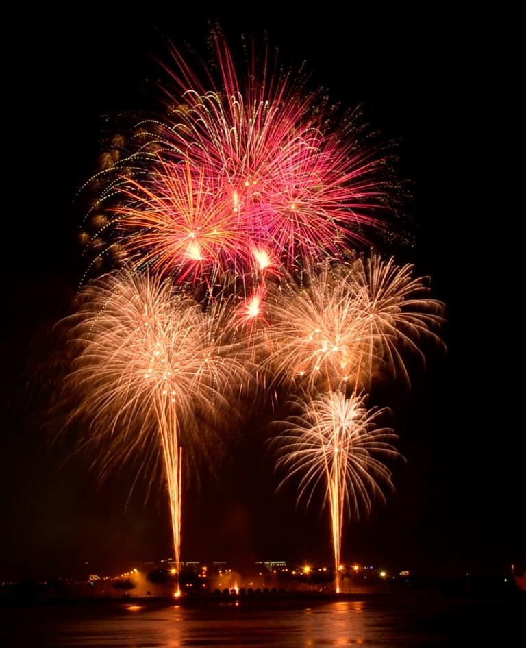 Phóng viên Dân trí ghi lại màn pháo hoa tầm cao rực rỡ chào mừng ngày Quốc khánh 2/9 tại TPHCM (Ảnh: Đình Thảo)