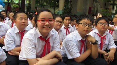 Niềm vui của học sinh TPHCM trong ngày vui khai giảng. (Ảnh: Lê Phương)
