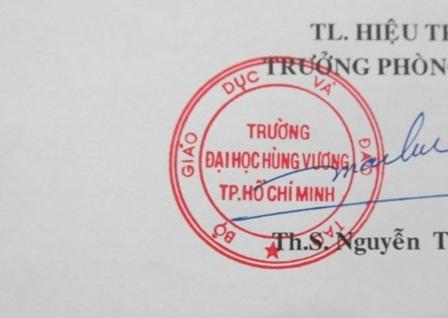 Mẫu dấu cũ của trường ĐH Hùng Vương TPHCM