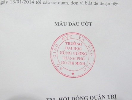 Mẫu dấu mới của trường ĐH Hùng Vương TPHCM.