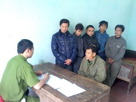 Các đối tượng bị bắt tại Công an huyện Đức Thọ