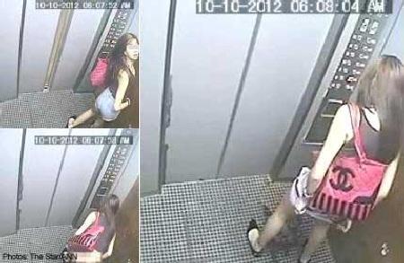 """Sốc với thiếu nữ hồn nhiên """"giải quyết nỗi buồn"""" trong thang máy"""