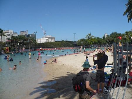 Bãi tắm SouthBank nơi sẽ là một trong bốn điểm bắn pháo hoa tối nay tại Brisbane.