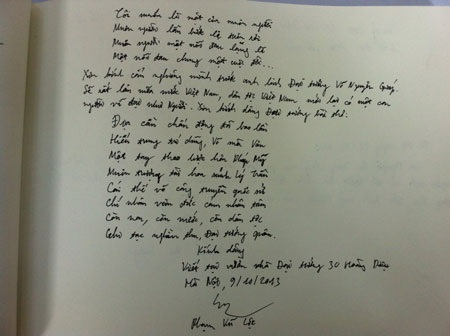 Bài thơ của Lộc ghi trong sổ ghi cảm tưởng tại nhà Đại tướng