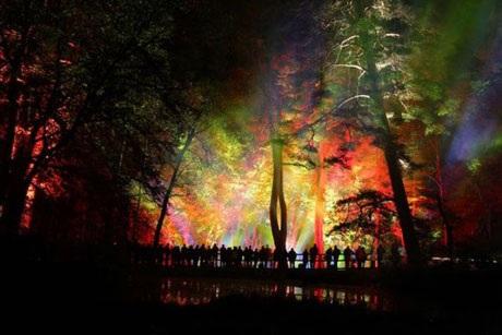 Một show trình diễn ánh sáng ở Pitlochry, Scotland