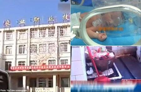 Đứa bé chào đời lúc 6h sáng trước khi lớp học bắt đầu. Ảnh: China View