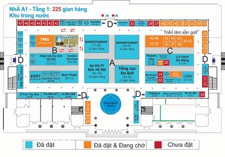 Sơ đồ các gian hàngkhu Hội chợ Du lịch Quốc tế Việt Nam - VITM 2014