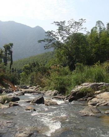 Dòng suối Xia nước chảy hiền hòa, uốn lượn dưới chân núi Pha Dùa