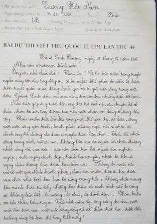 """Bài dự thi """"Gửi nhà văn Andersen"""" dài 3 trang đạt giải nhất của em Trương Hải Nam."""