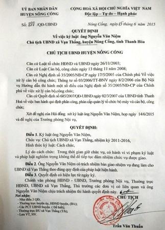 Quyết định cách chức ông Nguyễn Văn Niệm - Chủ tịch UBND xã Vạn Thắng