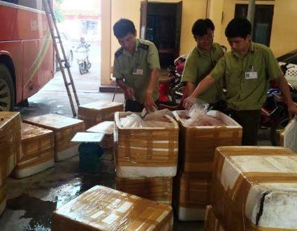 14 thùng xốp chứa đầy nội tạng động vật đang bốc mùi hôi thối trên xe khách bị bắt giữ