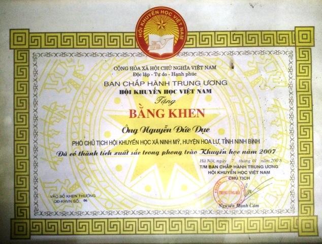 Ông Nguyễn Đức Dục - Chủ tịch Hội khuyến học xã Ninh Mỹ, Hoa Lư, Ninh Bình