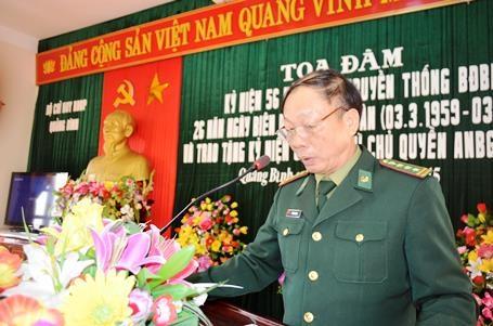 Đại tá Vũ Mạnh Lượng, Bí thư Đảng ủy, Chính ủy BĐBP Quảng Bình phát biểu tại Lễ tọa đàm