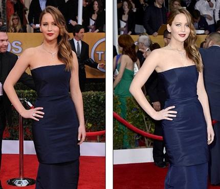 Jennifer vẫn cố gắng mỉm cười và tạo dáng cho phóng viên chụp hình.