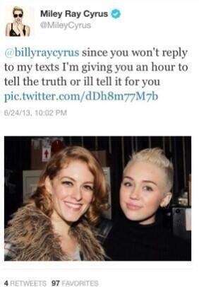 Miley Cyrus đe dọa cha ruột trên trang cá nhân