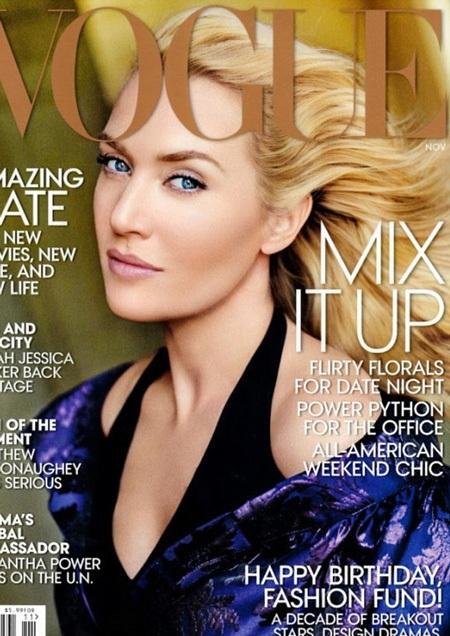 Nữ diễn viên 38 tuổi là gương mặt trang bìa trên tạp chí Vogue, số tháng 11/2013.