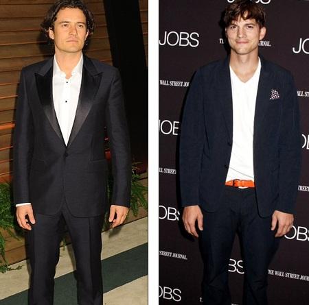 Orlando Bloom (Trái) và Ashton Kutcher cũng từng có quan hệ tình ái với nữ hoàng tiệc tùng.