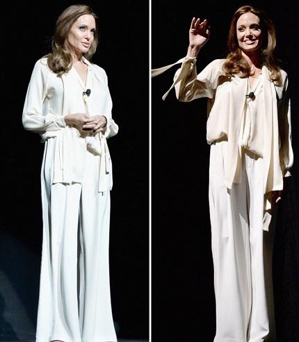 Angelina ngày càng gầy gò, bộ trang phục rộng thùng thình càng tố cáo thêm điều đó.